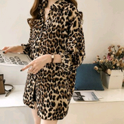 Autumn 2018 new fashion loose large size leopard shirt women long sleeves long shirt shirt bottoming shirt
