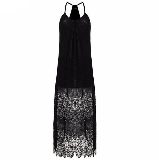 Summer Strappy V-neck Lace Maxi Dress