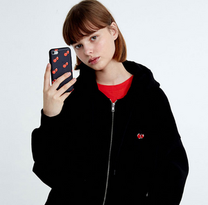 Cherry Embroidery Hooded Sports Cotton Jacket