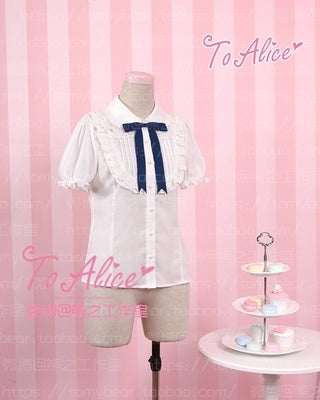 "Kawaii Girls ""Milk Bear"" Theme Lolita Blouse Short Sleeve Summer Chiffon White Shirt with 3 Color Bows Cute"