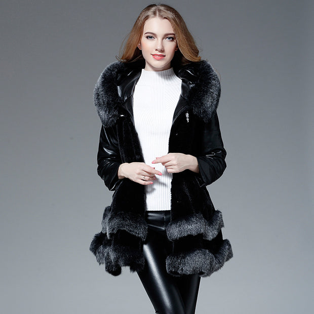 New Faux Fur Trimmed Stitched Long Coat