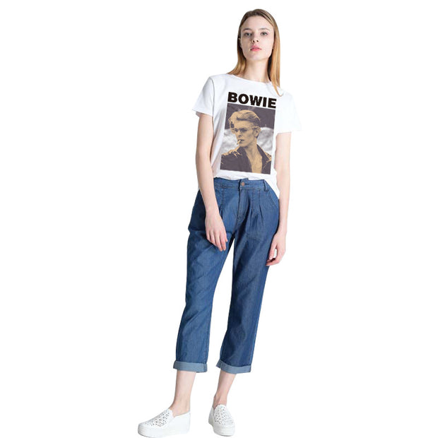 Bowie band commemorative rock style short-sleeved bowie printed loose round neck T-shirt blouse