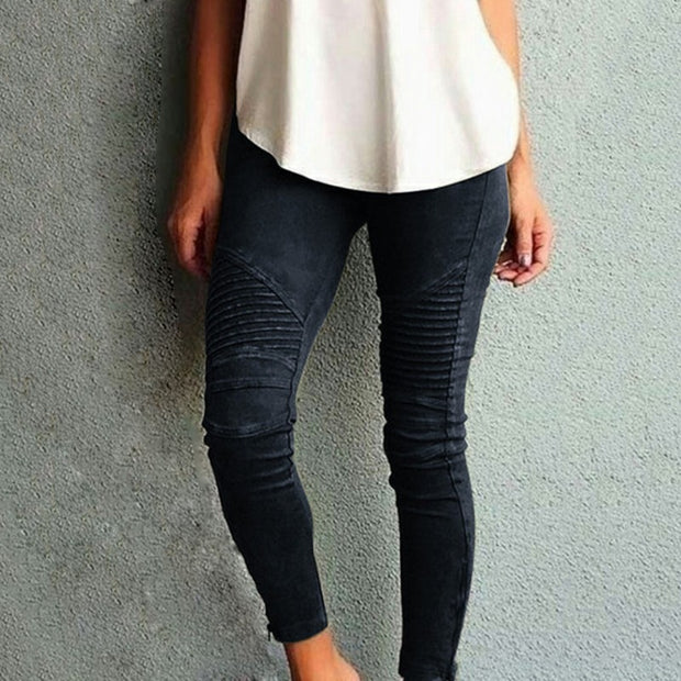 Women Casual Pleated Skinny Pants