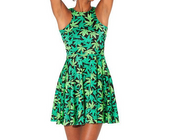 3D digital print green leaf pleated jumpsuit sexy pettiskirt dress