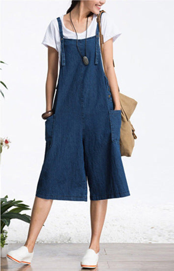 Loose casual fashion, comfortable, versatile straps, wide-leg jeans