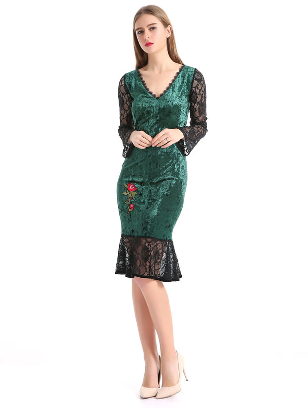 USA SIZE European and American embroidery V-neck sexy lace stitching ruffled velvet bag hip dress