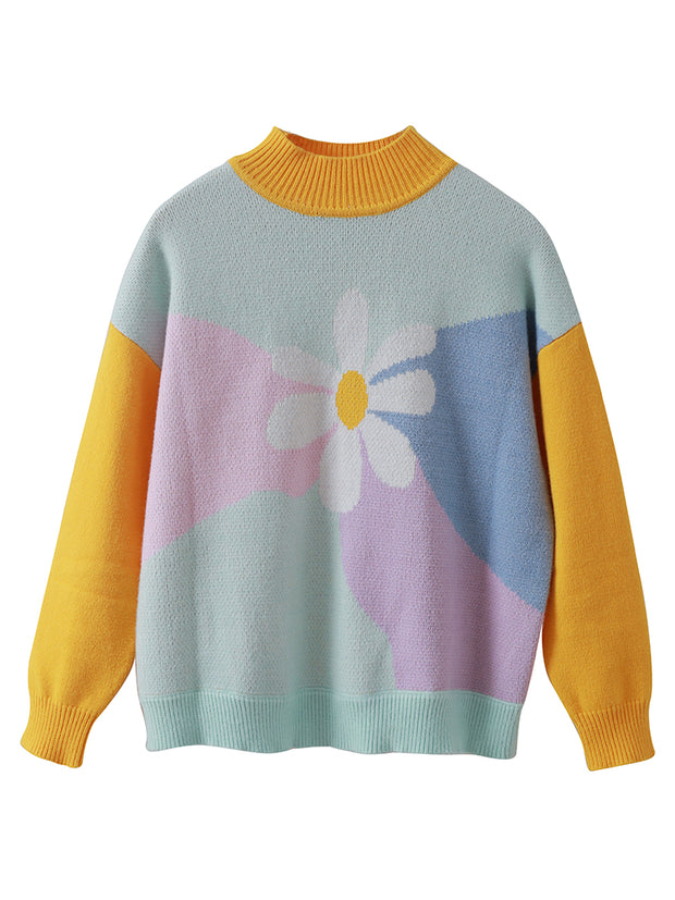 High-neck Color Block Daisy Sweater