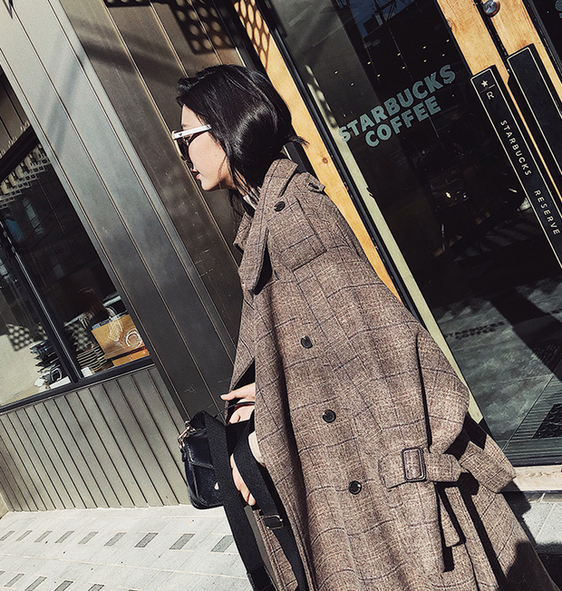 Retro Loose Long Belted Plaid Woolen Coat