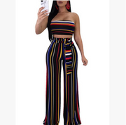 printing striped knit suit tube top + high waist wide trousers