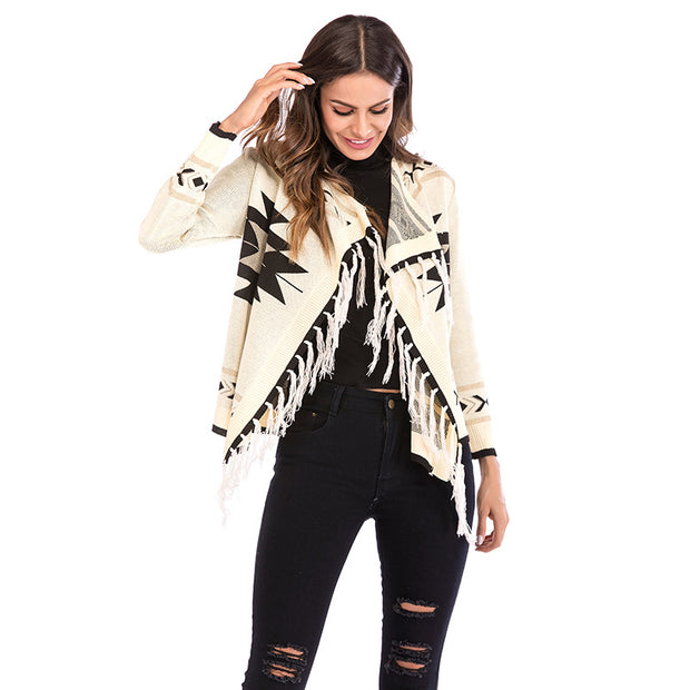 New geometric tassel shawl jacket Europe and America autumn and winter color long sleeve knit cardigan sweater