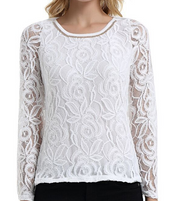 Floral Lace Long Sleeve Round neck Blouse
