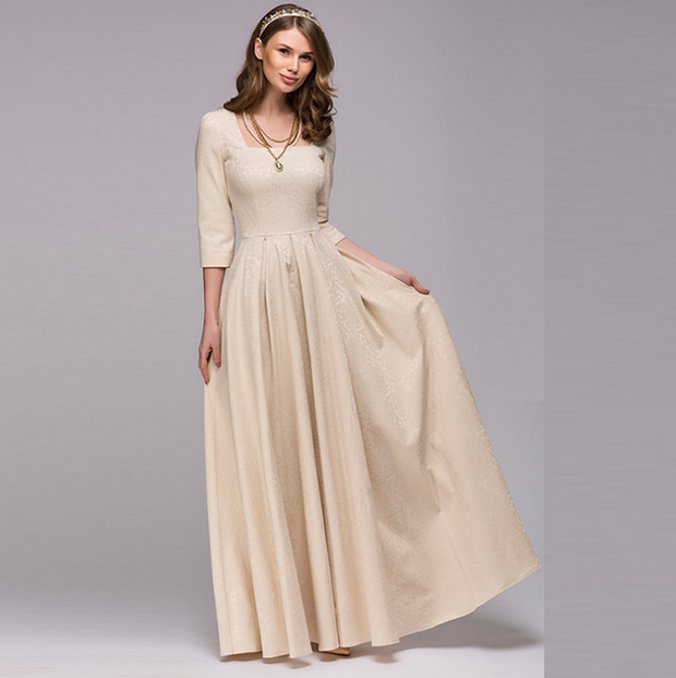 Long Sleeve Solid big swing Evening Dress