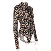 Sexy high collar leopard jumpsuit long-sleeved T-shirt female corset