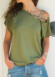 Casual One shoulder irregular short-sleeved Blouse