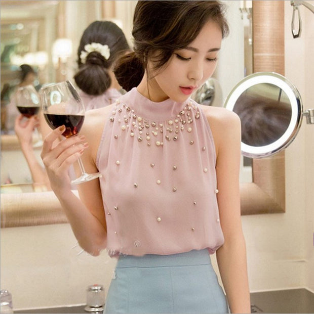 Off-the-shoulder sleeveless halter top sexy chiffon shirt