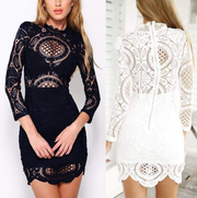 Summer Lace Hook Flower Slim Dress European and American Perspective Lace Skirt