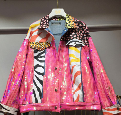 Colorful sequined denim jacket