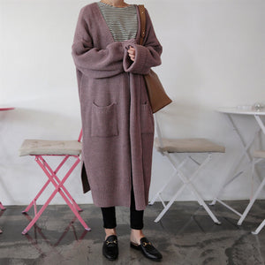Loose Long Knitted Long Sweater Cardigan
