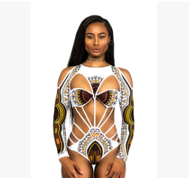 Indie/African Style Long Sleeve Cold Shoulder Hollow Bodysuit