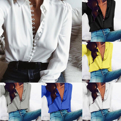 Explosion models Europe and the United States new irregular solid color V-neck sexy buckle long-sleeved blouse