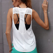 2018 new yoga fitness quick-drying wicking casual running sports vest female beauty back hollow blouse