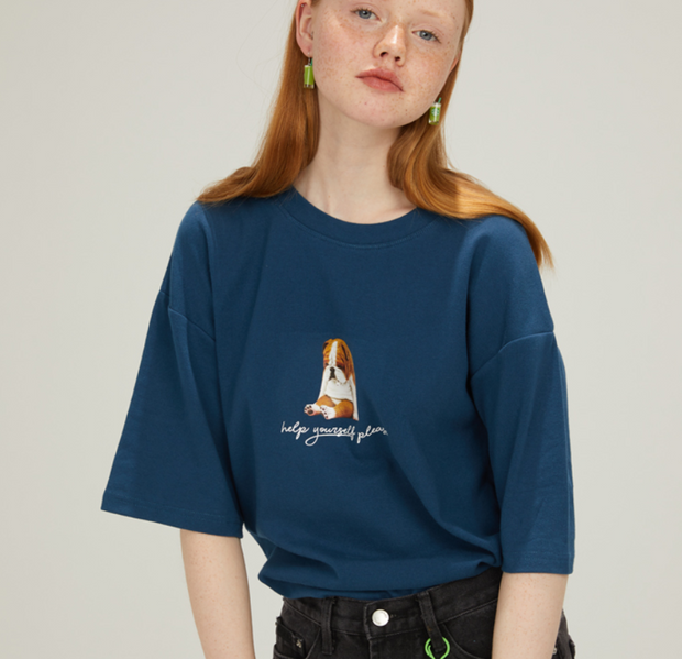 Sad Dog Print T-Shirt Loose Short-Sleeve Top