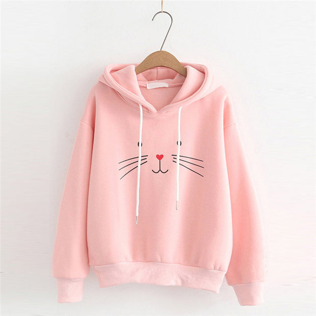 Seasonal Casual Cute Cat Print Hoodie
