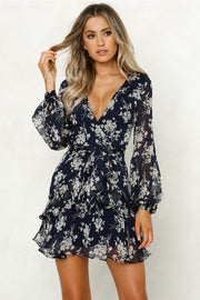 Autumn Floral Pprint Long Sleeve Mini Dress