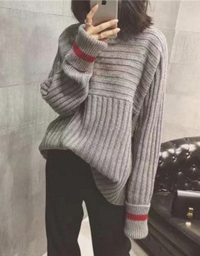 Turtleneck Loose Striped Long Sleeve Sweater