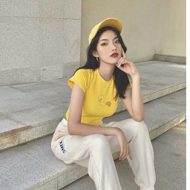 Yellow bird short t-shirt