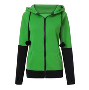Women's Color Block Zipper Hoodie Jacket