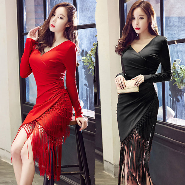 Autumn and winter new Korean women's sexy V-neck long-sleeved tassel bag hip slim slimming dress