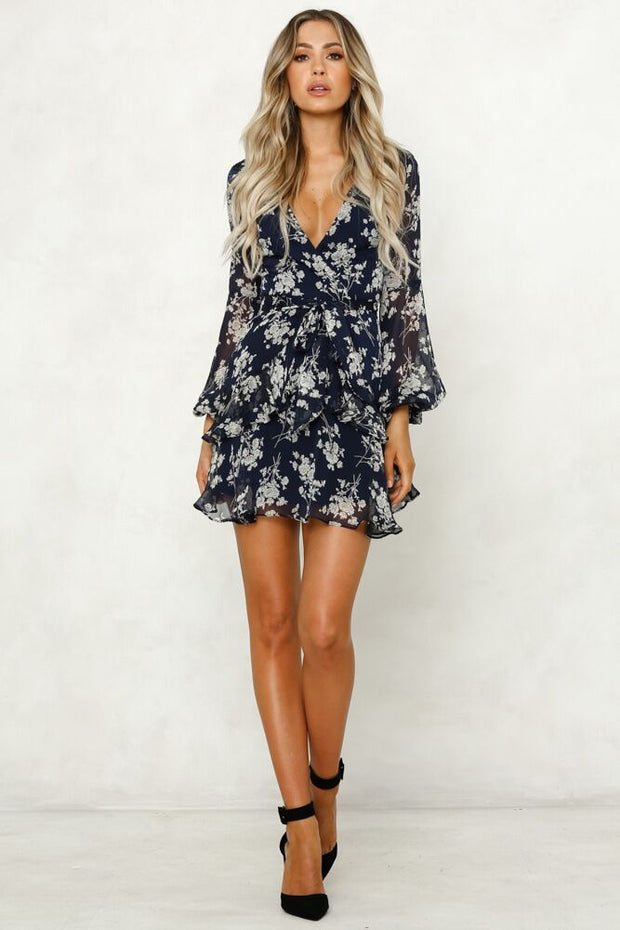 Autumn new fashion flower print long sleeve dress