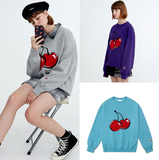 2018 autumn and winter new Korean KIRSH cherry sweater female loose college wind hood plus velvet shirt lovers shirt