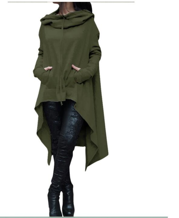 Women Casual Irregular Loose Hoodir Coat