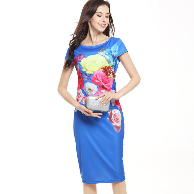 USA SIZE Printed elastic bag hip dress pencil skirt dress
