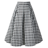 USA SIZE Hepburn cotton plaid printed retro skirt large swing high waist pleated skirt