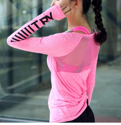 Lightweight skin-friendly breathable letter sportswear casual fitness clothing running long-sleeved yoga quick-drying T-shirt
