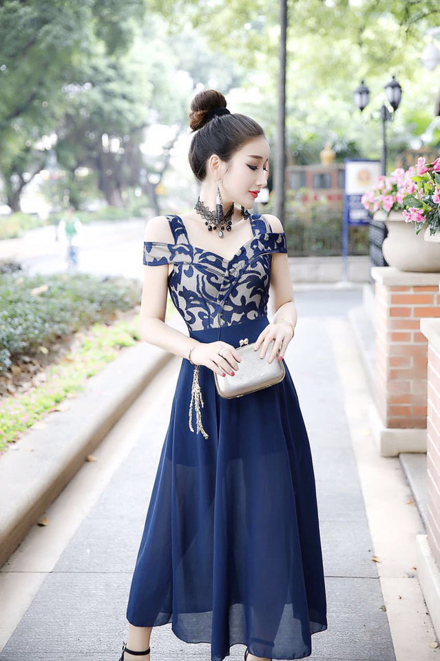 Lace Floral Print Chiffon Stitching Maxi Dress