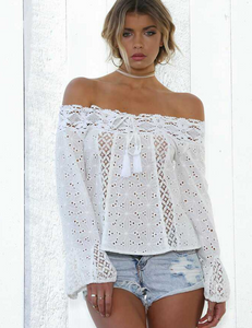 Off-the-shoulder fringed lace stitching top