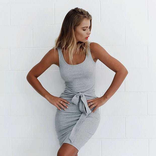 High Waist Tight sleeveless Bodycon Dress