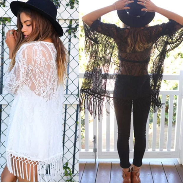 Europe and the United States foreign trade summer lace perspective cardigan shawl sunscreen shirt female national wind tassel beach shirt air conditioning shirt