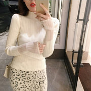 Cuff stitching slim knit Long Sleeve Sweater