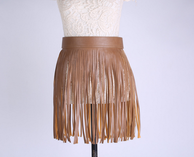 Short Skirt/Belt Faux Leather Fringe