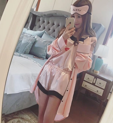 Summer simulation silk girl pajamas long-sleeved shorts suspenders robe casual eyelashes four-piece home clothes to send eye mask