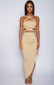 Halter two piece split sexy women dress Elegant evening party dress bandage summer dress Female