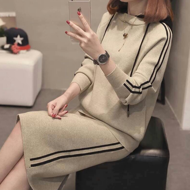 Sweater Women's Two-Piece Fashion Hooded Sweater Bag Hip Skirt Pullover