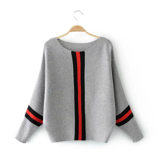 New vertical stripe color loose pullover sweater female short bat sleeve sweater