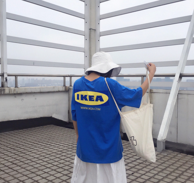 2018 Korea INS with Harajuku BF wind loose letters IKEA round neck short-sleeved T-shirt shirt men and women lovers