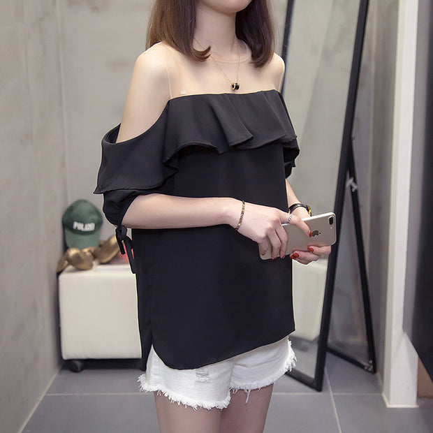 Women short sleeve ruffles Off shoulder Blouse